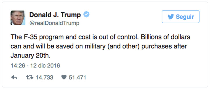 armas lockheed martin tweet trump