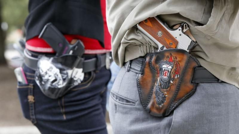armas texas open carry funda a la vista