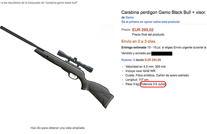 armas carabina gamo amazon fraude 9