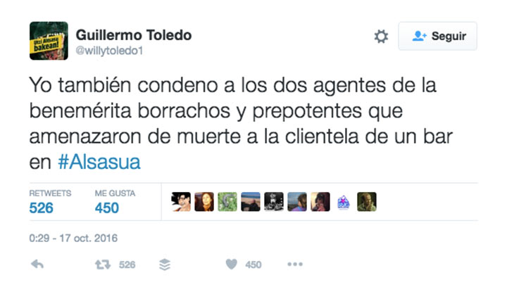 armas willy toledo tweet guardia civil
